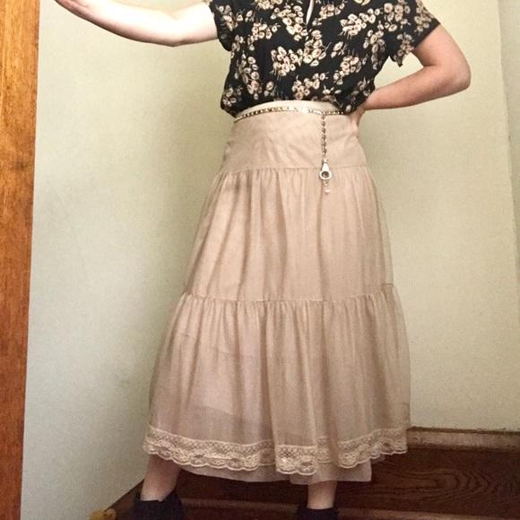 52f30ebb5f Free People Skirts | Long Neutral Tiered Skirt | Poshmark